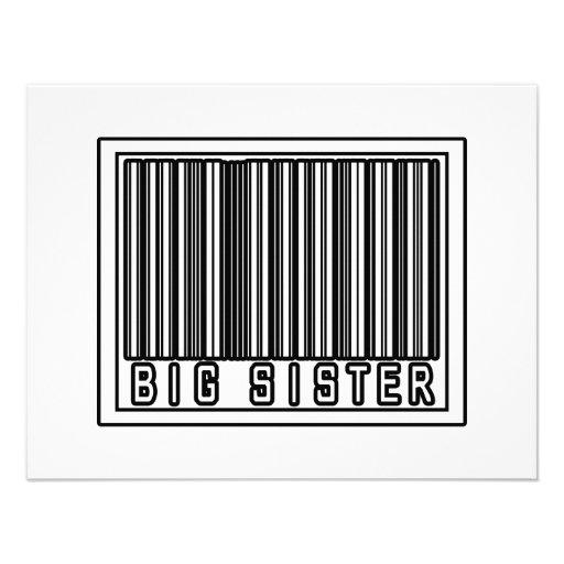 Barcode Big Sister Invitations