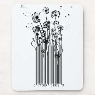 Barcode Dandelion Silhouette mouse mat