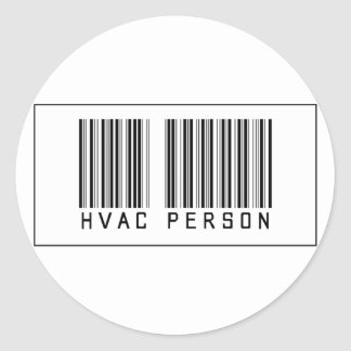 Barcode HVAC Person Classic Round Sticker