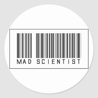 Barcode Mad Scientist Classic Round Sticker