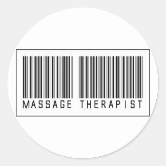 Barcode Massage Therapist Round Sticker