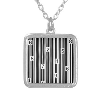 Barcode Silver Plated Necklace