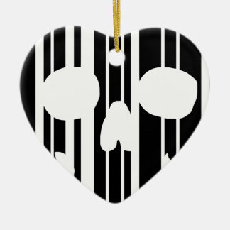 Barcode Skull Ceramic Ornament