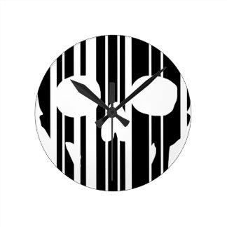 Barcode Skull Round Clock