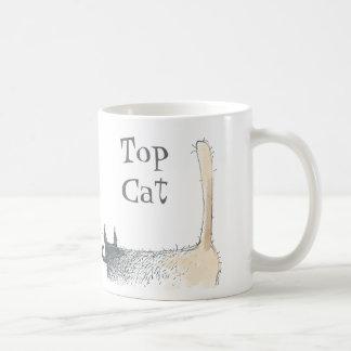bare butt cat with moustache basic white mug