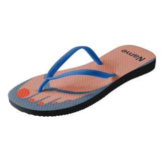 Bare Feet, Red Toes, Add Name Flip Flops