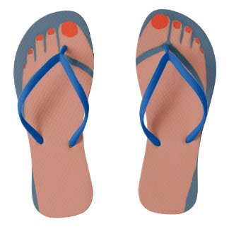 Bare Feet, Red Toes Flip Flops