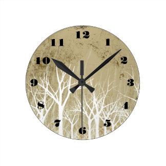 Bare Winter Trees Round Clock