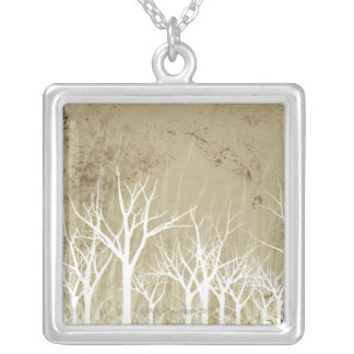 Bare Winter Trees Silver Plated Necklace