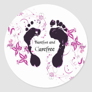 Barefoot and Carefree Classic Round Sticker