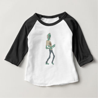 Barefoot Creepy Zombie With Rotting Flesh Outlined Baby T-Shirt