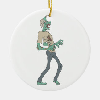 Barefoot Creepy Zombie With Rotting Flesh Outlined Ceramic Ornament