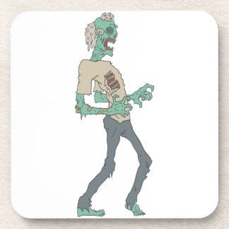 Barefoot Creepy Zombie With Rotting Flesh Outlined Coaster