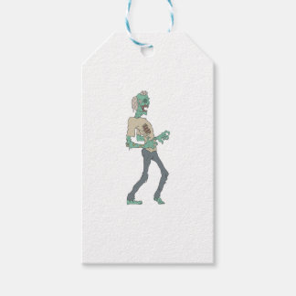 Barefoot Creepy Zombie With Rotting Flesh Outlined Gift Tags