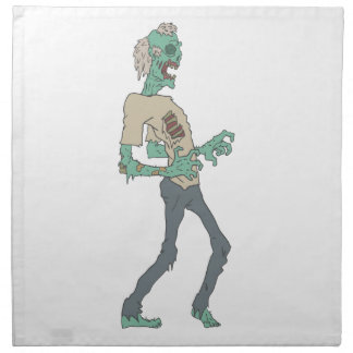 Barefoot Creepy Zombie With Rotting Flesh Outlined Napkin