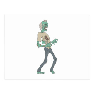 Barefoot Creepy Zombie With Rotting Flesh Outlined Postcard