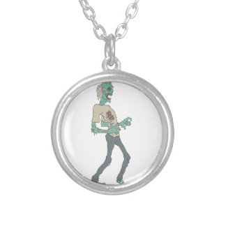 Barefoot Creepy Zombie With Rotting Flesh Outlined Silver Plated Necklace