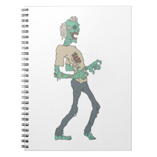 Barefoot Creepy Zombie With Rotting Flesh Outlined Spiral Notebook