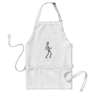 Barefoot Creepy Zombie With Rotting Flesh Outlined Standard Apron