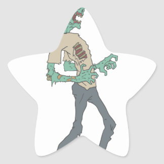 Barefoot Creepy Zombie With Rotting Flesh Outlined Star Sticker