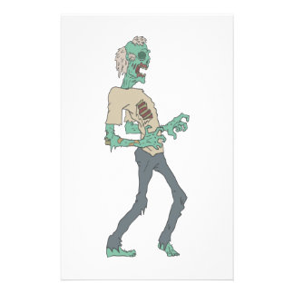 Barefoot Creepy Zombie With Rotting Flesh Outlined Stationery