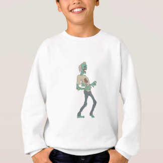 Barefoot Creepy Zombie With Rotting Flesh Outlined Sweatshirt
