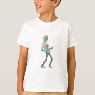 Barefoot Creepy Zombie With Rotting Flesh Outlined T-Shirt