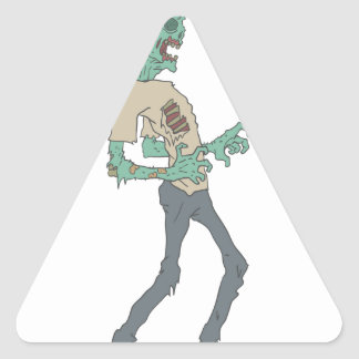 Barefoot Creepy Zombie With Rotting Flesh Outlined Triangle Sticker