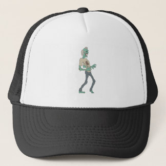 Barefoot Creepy Zombie With Rotting Flesh Outlined Trucker Hat