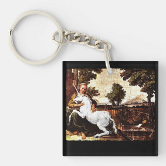 Barefoot Girl and White Unicorn Double-Sided Square Acrylic Keychain