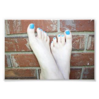 Barefoot on a Brick Wall Photo Print