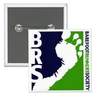 Barefoot Runners Soc Avatar Logo White Foot Square 2 Inch Square Button