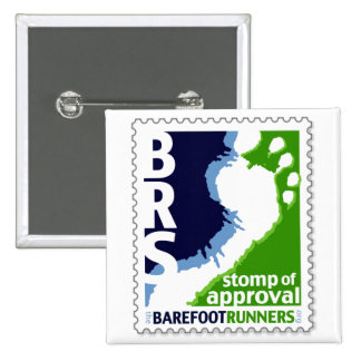 Barefoot Runners Society Stomp of Approval Square 2 Inch Square Button