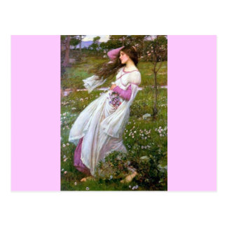Barefoot Woman in Wind painting Postcard