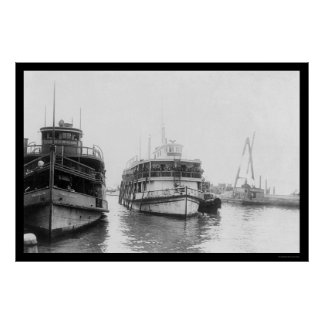 Barge Carrying Immigrants at Ellis Island, NY 1920 Poster