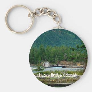Barge on the Inland Passage Basic Round Button Keychain