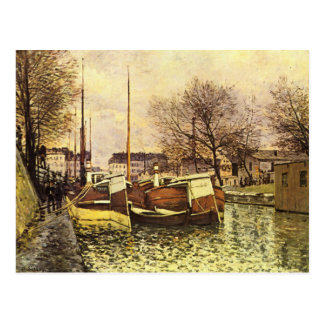 Barges on the Canal Saint Martin in Paris postcard