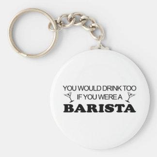 Barista Drink Too Basic Round Button Keychain