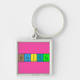 Barista periodic table name keyring Silver-Colored square keychain