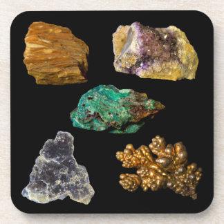 Barite Amethyst Malachite Mica & Copper Minerals Coasters