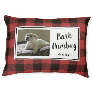 Bark Humbug Holiday Plaid with Photo and Name Pet Bed