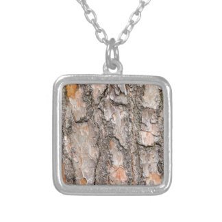 Bark of Scotch pine tree as background Silver Plated Necklace
