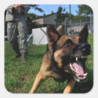 Barking German Shepherd Square Sticker