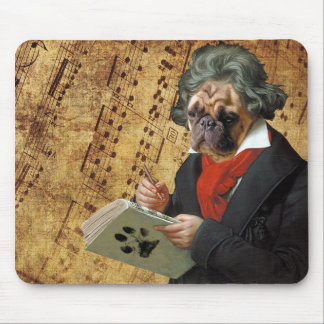 Barkthoven - the Beethoven pug Mouse Pad