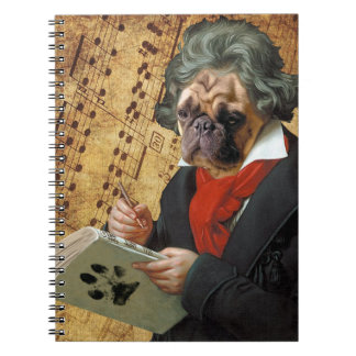 Barkthoven - the Beethoven pug Spiral Notebook
