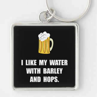 Barley Hops Silver-Colored Square Keychain