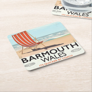 Barmouth North wales vintage travel poster Square Paper Coaster