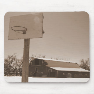 Barn and Basketball hoop sepia tone mousepad