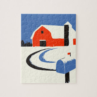 Barn And Mailbox In The Snow Jigsaw Puzzle