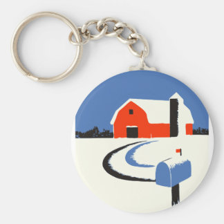 Barn And Mailbox In The Snow Keychain